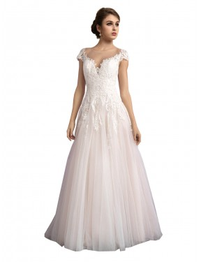 Budget Ivory & Champagne Cathedral Train Long Illusion Mariana Wedding Dress